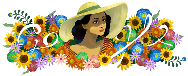 """Celebrating Dolores del Rio"" Google Doodle by Sophie Diao, August 3, 2017"