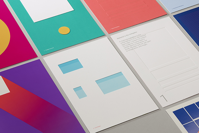 A limited edition printed takeaway, created for the launch of Material Design at Google I/O 2014. Image courtesy of Manual
