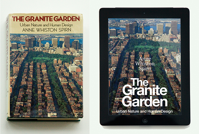 The Granite Garden, a book that ìtouched off the ecological urbanism movement,î according to the American Planning Association, which lists it as one of the most important books of the past century. The book presents, synthesizes, and applies knowledge from many disciplines to show how cities are part of the natural world and to demonstrate how they can be planned and designed in concert with natural processes rather than in conflict (1984, Basic Books; e-version, expected 2019).