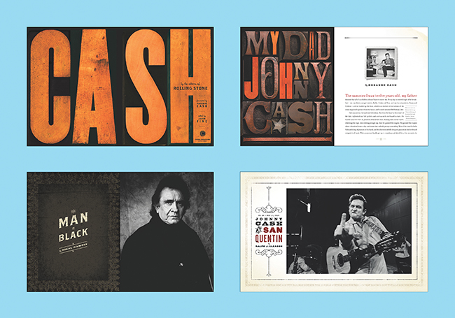 Spread from Cash, a book designed by Andersonís team at SpotCo for Jason Fine at Rolling Stone shortly after Johnny Cashís passing. Project partners: the Cash family, Sam Eckersley, Bashan Aquart, Darren Cox, Jessica Disbrow, editors and writers from Rolling Stone. Published by Crown Publishers (2004).